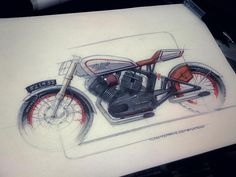 Cool sketch, oldschool motorcycle with matchless logo