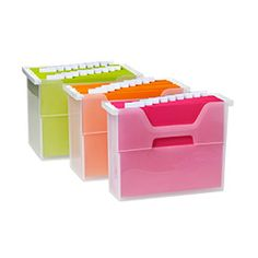 Absent work idea with open file storage from The Container Store