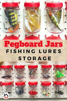 Tall Pegboard Accessories Organizer Storage Jars – Large Size x – Peg Board Attachments for Craft, Sewing & Garage Storage – Set of 6 (Red) World Axiom short and tall pegboard jars will maximize your fishing lures and terminal tackle stora Pegboard Craft Room, Pegboard Organization, Organization Ideas, Storage Sets, Jar Storage, Garage Storage, Fishing Storage, Garage Accessories, Fishing Lures