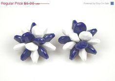 On Sale Vintage Blue White Plastic Bead Earrings