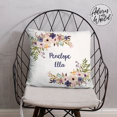 Floral Name Pillow, Personalized Name Pillow, Custom Pillow, Name Cushion, Baby Girl Gift, Gift for Her, Floral Throw Pillow, Gift for Girl