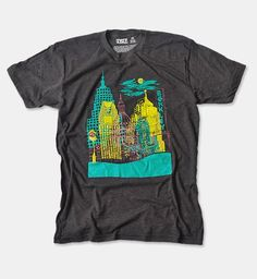 Detroit Downtown cityscape men's t-shirt at therethere.com