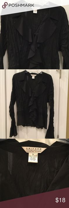 "Blouse Uniform by john paul richard.  Seriously beautiful blouse.  Crinkly body, 21"" pit to pit.  Black.  I LOVE OFFERS uniform Tops Blouses"