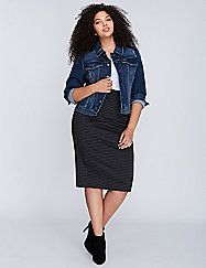 A little fading. Perfectly placed distressing that makes it look like the one you've had forever. This denim jacket will hardly ever see your closet, you'll be wearing it so much. Four pockets. Snap button front closure. Single snap-button cuffs. lanebryant.com