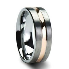 A men's wedding ring with a flawless tradition style.  The sliver tungsten has a flat brush finish with a beautiful 18k rose gold plated grove down the center h