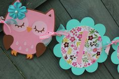 Pink and Aqua Owl Themed Its A Girl Baby Shower Banner, Its A Girl Banner, Shower Banner on Etsy, $28.50