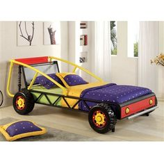 sturdy metal construction racer twin size car bed red yellow finish