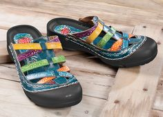 Hand-Painted Slip-Ons leather uppers are hand-tooled and handpainted bright colors. Padded footbeds cushion your steps, rubber bumpers protect your toes. Lightweight, flexible shoes have grippy polyurethane soles. Whole sizes 6–11. Half sizes, order up. Imported.