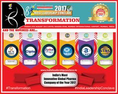 Sun Pharma, Intas ,Zydus Cadila, Mankind,Alkem Laboratories & Cipla are in the race for the coveted India' Most Innovative Pharmaceutical Company of the Year 2017 at India Leadership Conclave Award title 2017 Agent Of Change, Lifestyle Shop, Affair, Leadership, How To Find Out, Innovation, Health Care, Indian, Ion Exchange