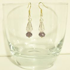 Items similar to Sapphire Crystal and Pearl Earrings on Etsy Amethyst Crystal, Clear Crystal, Pearl Earrings, Drop Earrings, Color Pop, Sapphire, Pearls, Trending Outfits, Crystals