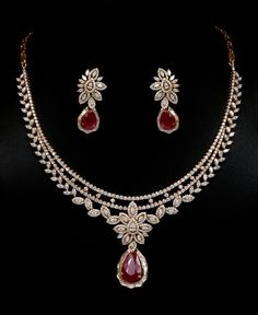 Diamond and ruby necklace set. Vummidi Bangaru Jewellers.