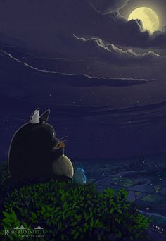 BUY AS PRINT IN playing the ocarina, fan art from My Neighbourhood Totoro movie, Studio Ghibli, by Roberto Nieto. Hayao Miyazaki, Cute Cartoon Wallpapers, Animes Wallpapers, Anime Totoro, Japanese Animated Movies, Studio Ghibli Art, Girls Anime, Manga Girl, Ghibli Movies