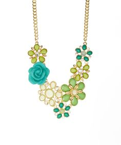 Another great find on #zulily! Simply Reese Green & Gold Floral June Bib Necklace by Simply Reese #zulilyfinds