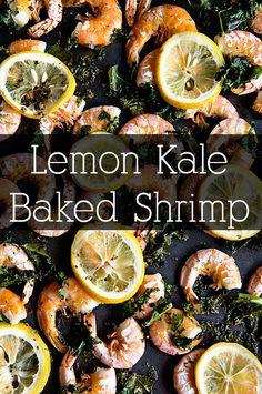 Lemon Kale Baked Shrimp - a super simple way to make a flavorful shrimp main dish. Toss it with pasta or eat it alone. #Lent #ApothicWhite