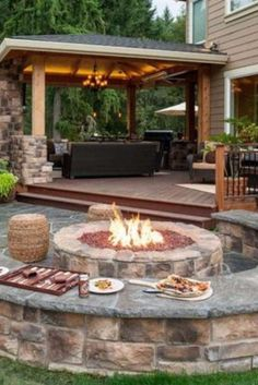 Patio fire pits or fire places are so popular now. I really want a fire pit for my backyard.