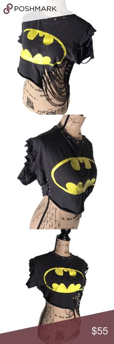 ✂️ Cut up distressed faded studded Batman crop top This Batman crop top is super worn, faded and distressed. Originally a mans tshirt, I cut it to crop top length and cut slots that hang down the side. The neck has added studs and rhinestones. Will fit a size medium. #batMan #croptop #sliced #distressed #faded #worn #acidwash #destroyed #destructed #costume #cutup #diy #custom reVamp'D Tops Crop Tops