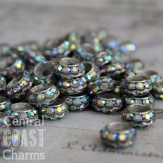 Aged Silver Czech AB Rhinestone Rondelle Spacer Beads - 11mm x 5mm - Vintage Shabby Style