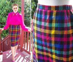 57a1b1b379 RAINBOW 1980's 90's Vintage Black + Colorful Plaid Wool Pencil Skirt // size  Small Med W 28