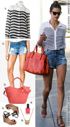 Alessandra Ambrosio's striped blouse and wedge sandals look for less