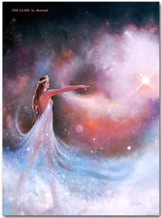 The Guide Artwork by Rassouli . Beautiful fluid mystical art. #spiritualart #mysticalart #visionaryart #goddess #angels