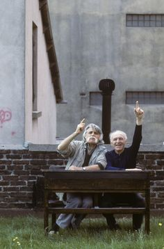 French writer Francois Cavanna and French photographer Robert Doisneau sitting at school desk, France, 1989 - Francois Cavanna and Robert Doisneau produced a book 'Les doigts pleins d'encre' © Jean-Louis Courtinat
