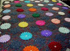 -Crochet Afghan Blue with Puff Flowers by BernoullisAttic