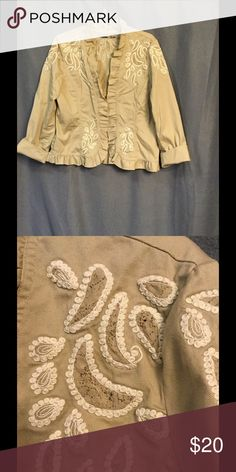 Nice Chico's Jacket Nice embroidered jacket by Chico's. Tan with cream.  Chico's size 2, regular  size large. Chico's Jackets & Coats Blazers