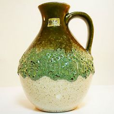 West german pottery fat lava vase made by Bay with original label