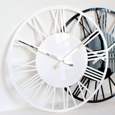 Our range now includes a modern acrylic skeleton clock in gloss White, Black, Red, Silver, for sale to buy online UK Wall Clocks Uk, Silver Wall Clock, Skeleton Wall Clock, Clock Movements, Clock Decor, Large Clock, Contemporary, Modern, High Gloss