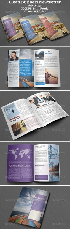 Clean Business Newsletter. Clean, Professional  Corporate InDesign Newsletter template that can be used for any type of industry. free font type Everything is editable right in Indesign. Just add your own pictures and texts, and it's ready for print. All colors can easily be changed.