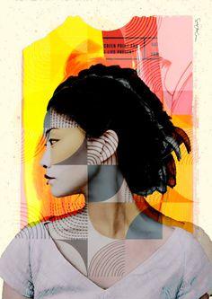 Asian glance Collage face glance design retro por SoulArtCorner