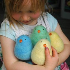 Felted chick-a-dees...she's a pretty cute chick-a-dee, herself!