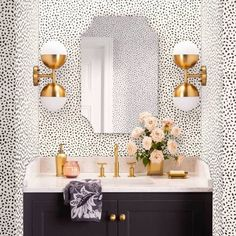 Devine Color Speckled Dot Peel & Stick Wallpaper Black, Adult Unisex You are in the right place abou Deco Bobo, Deco Spa, Home Luxury, Bathroom Wallpaper, Powder Room Wallpaper, Wallpaper On Stairs, Target Wallpaper, Adhesive Wallpaper, Bathroom Collections
