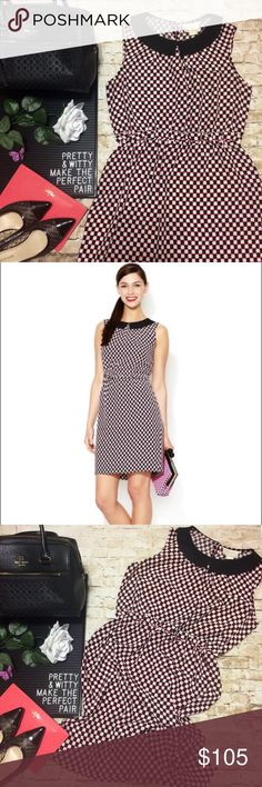 """⚡️Flash Sale Kate Spade """"Neal"""" Dress Gorgeous 100% silk dress by Kate Spade New York in a black, white & pink polka dotted print. Black Peter Pan collar. Back zipper w/ button atop a small keyhole at back of neck. Length is 37"""". Sleeveless style w/ shaping at bust & a straight line skirt. Elastic banded waist w/subtle ruffle. Looks great w/ a light cardigan & heels or dress it down w/ sandals & a top bun. Well loved but no stains or holes. Some wear/stretch on the back seam at the bottom but…"""