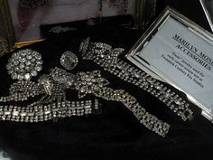 Rhinestone accessories worn by Marilyn Monroe ... P.S. I have that exact same bracelet on the bottom left!!!