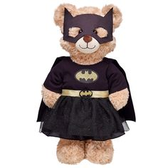 The Bat-Signal is on! Dress your furry friend in this powerful costume! The outfit features a black Batgirl bodysuit with lace outer skirt and gold waistband, attached cape, emblem and belt, plus a cowl. Batgirl Costume, Build A Bear, Dc Comics, Costumes, Superhero, Animals, Bat Girl, Teddy Bears, Vanilla