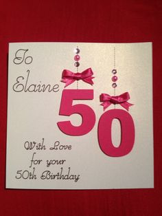 "50th birthday card inspired by a card I saw on Etsy.  50 cut from card using a Silhouette Cameo.  The ""hanging threads"" and sentiment written using a Silhouette Sketch Pen in the Cameo."