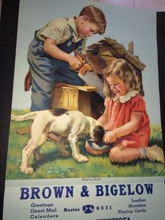 Frances Tipton Hunter Calendar Art 2 Kids & Puppy 1943 Original 16 X 33 Cute #BrownBigelowCalendarArt
