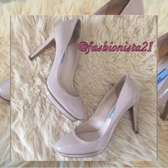 """❤️New Nude Prada Milano Shoes 37 1/2 7.5 These delicious Prada Milano patent leather Heels are to die for. Never worn. Price tag still on sole. Originally $553.00 plus tax. Purchased at Saks 5th Avenue. Approx 1/2"""" platform with a 4"""" heel. Made in Italy. Nude classics Prada Shoes"""