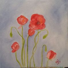 Poppies by me oil painting 12x12