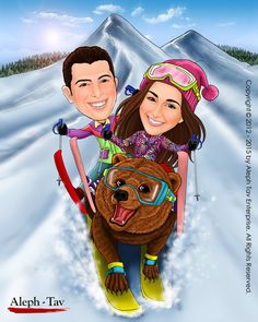 Skiing on the back of a grizzly bear from the top of snowy mountain ? It's a nod to these two lovers of extreme sports.  To order your digital caricature gifts, visit : https://www.etsy.com/shop/AlephTavgiftshop  #AlephTavart #anniversary_gifts #art #birthday_gifts #caricature #celebration #christmas #gift_ideas #gifts #unique_gifts #wedding_gifts #corporate_gifts #family_portrait #portraits #savethedate #wedding_invitation