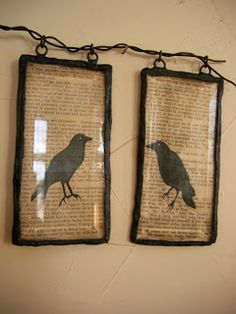 """CAN'T STOP MAKING THINGS: What Crows Hath Wrought - tutorial for frames - crow on book pages tutorial in """"paper crafts"""""""