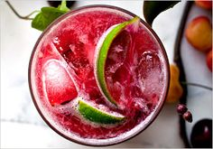 Recipes for Three-Ingredient Summer Cocktails - Cherry Caipirissima Ingredients ounce simple syrup 3 cherries, pitted and halved Half a lime, cut into quarters 2 ounces white rum. Cocktail Drinks, Cocktail Recipes, Cocktail Shaker, Cherry Cocktails, Christmas Cocktail, Yummy Drinks, Yummy Food, Meals For Three, Summer Drink Recipes