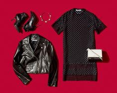 While a simple dress, moto jacket, and ankle boots may sound pretty standard, Givenchy has a way of adding the bold nuances that make the classic combo oh-so-cool. We especially love the contrast of the flirty vibe of the star choker against lace and the hard edge of the box bag and studded boots.