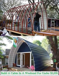 These beautiful, functional, and durable arched cabins are an easy and inexpensive way to create your own dream cabin… Arched Cabin, Building A Cabin, Building Ideas, Casas Containers, Cabins And Cottages, Mini Cabins, Small Cabins, Tiny Spaces, Cabins In The Woods