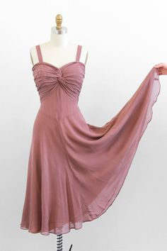 vintage 1930s dusk colored silk chiffon evening gown.