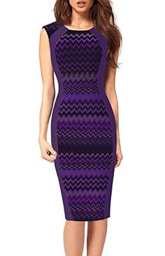REPHYLLIS Women Vintage Floral Print Wear to Work Business Office Casual Cocktail Party Pencil Dress Purple L >>> Check this awesome product by going to the link at the image.