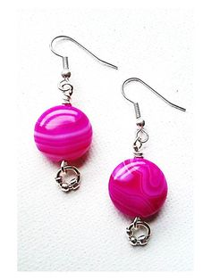 Fuchsia Agate Earrings With Silver Plated Jump Ring by Euphena, £8.00