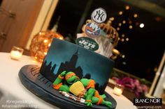 Fake cakes, Ninja Turtle Groom's Cake, NY Skylight background.