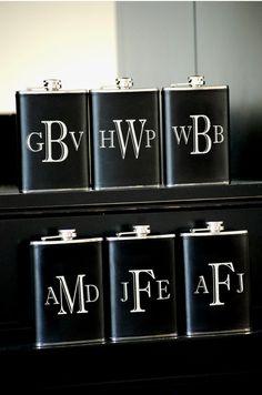 6 Personalized Groomsmen Gifts - Custom Engraved Leather Liquor Flask - Monogrammed Flasks - Groomsman Best Man Ring Bearer Gift